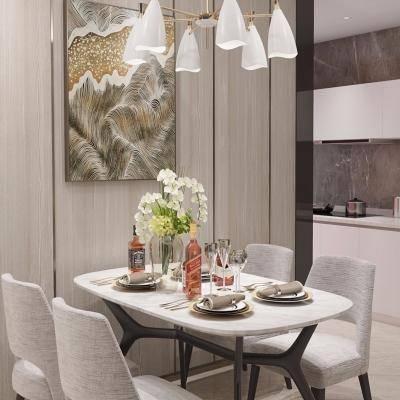 现代餐厅, 桌椅组合, 吊灯, 壁画, 厨具, 现代