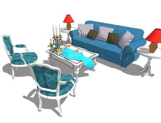 欧式, 沙发组合, 装饰, 茶几