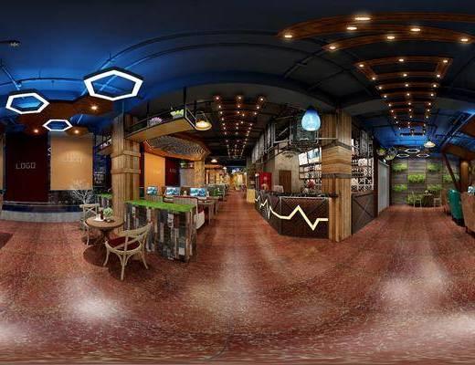 现代网吧, 吊灯, 椅子, 桌子, 茶几, 吧台, 现代