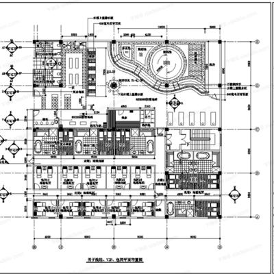 CAD, 施工图, 工装, 酒店, 桑拿