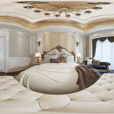 简欧卧室, 双人床, 沙发床塌, 床头柜, 台灯, 贵妃椅, 吊灯, 电视柜, 壁灯, 马头装饰品, 地毯, 简欧