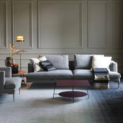 沙发组合, 多人沙发, 边几, 椅子, 落地灯, 现代