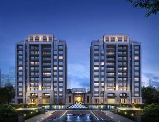 商业楼盘, 住宅, 新古典, 户外, 绿化, 建筑