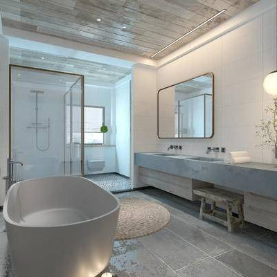 卫浴, 吊灯, 镜子, 洗手台, 浴缸, 淋浴间, 中式