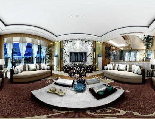 新中式客餐厅, 茶几, 多人沙发, 边几, 台灯, 电视柜, 壁画, 新中式