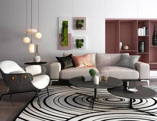 现代, 沙发, 茶几, 吊灯, 置物柜, 植物墙, 装饰画, 椅子, 摆件, 盆栽