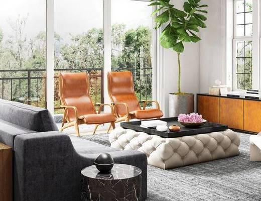 客厅, 植物盆栽, 沙发, 茶几, 现代