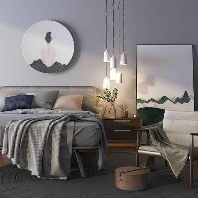 床具組合, 雙人床, 吊燈, 壁畫, 床頭柜, 椅子, 北歐