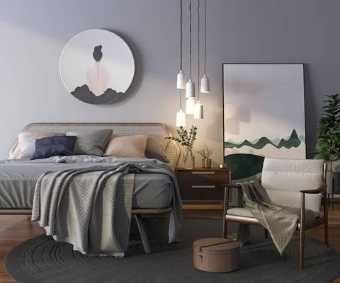 床具组合, 双人床, 吊灯, 壁画, 床头柜, 椅子, 北欧
