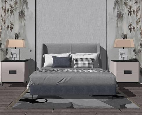 床具, 现代, 床头柜, 台灯, 床, 现代床