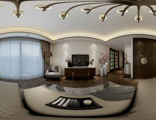 新中式卧室, 双人床, 床尾塌, 吊灯, 床头柜, 壁灯, 单人沙发椅, 落地灯, 壁画, 衣柜, 电视柜, 花瓶, 地毯, 新中式