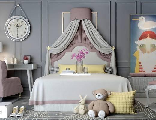 床具组合, 双人床, 桌子, 椅子, 台灯, 壁画, 时钟, 玩具, 北欧