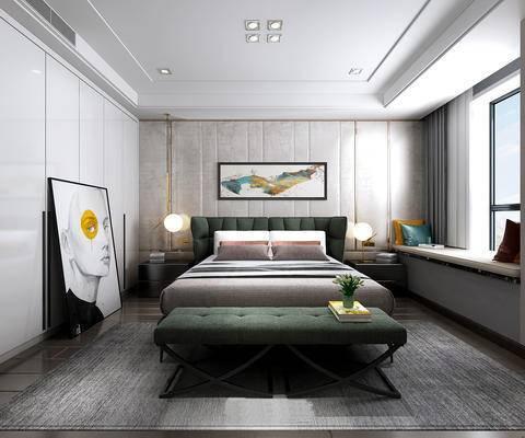 北欧简约, 墨绿色, 床具组合, 台灯, 脚踏沙发, 卧室