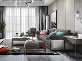 现代简约, 客厅, 沙发茶几组合, 吊灯, 植物盆栽