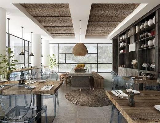 美式简约, 餐厅, 桌椅组合, 置物架, 吊灯