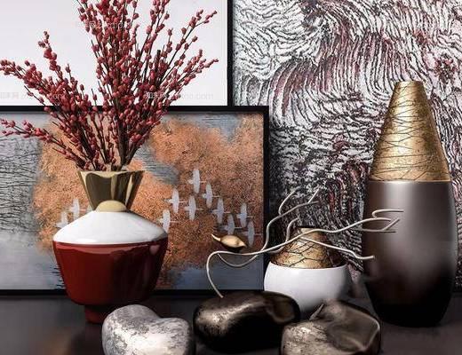 花瓶, 装饰画, 石头, 植物, 陈设品, 摆件