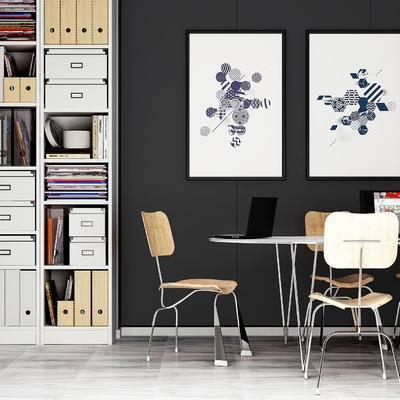 桌椅组合, 桌子, 椅子, 壁画, 储物柜, 后现代