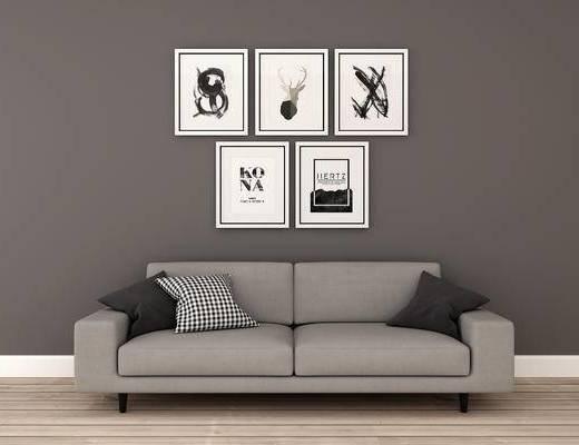 沙发组合, 双人沙发, 挂画, 现代