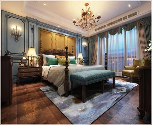 简欧卧室, 吊灯, 双人床, 床尾塌, 壁灯, 床头柜, 台灯, 椅子, 边柜, 地毯, 简欧