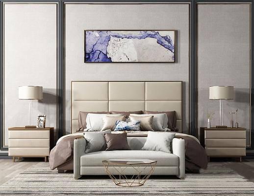 现代简约, 床具组合, 台灯, 挂画, 沙发茶几