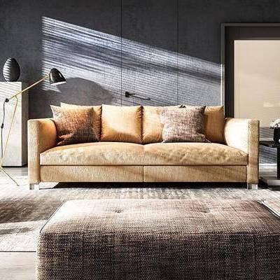 现代客厅, 双人沙发, 椅子, 边几, 落地灯, 沙发凳, 现代
