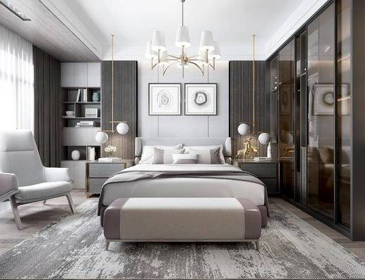 现代卧室, 双人床, 床尾凳, 沙发椅, 衣柜, 床头柜, 置物柜, 现代