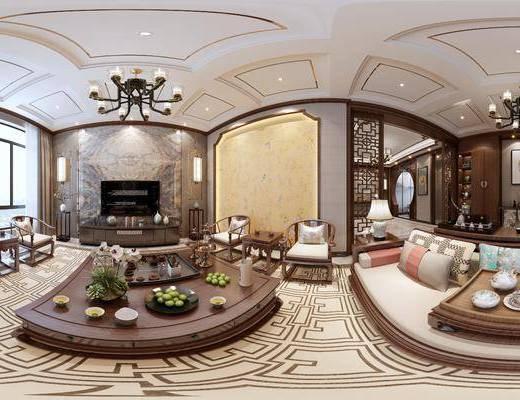 新中式客餐厅, 吊灯, 茶几, 椅子, 多人沙发, 壁画, 边几, 新中式