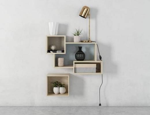 现代, 墙饰, 实木柜架, 装饰架, 绿植, 台灯, 花瓶, 书籍