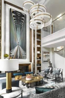 现代别墅客厅, 沙发茶几组合, 壁画, 台灯, 单人沙发, 储物柜, 地毯, 现代