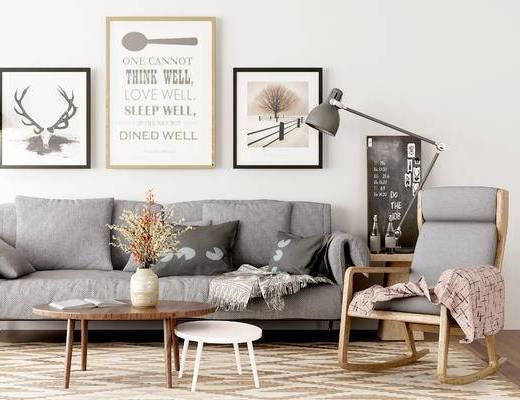 沙发组合, 多人沙发, 椅子, 茶几, 壁画, 边几, 台灯, 花瓶, 北欧