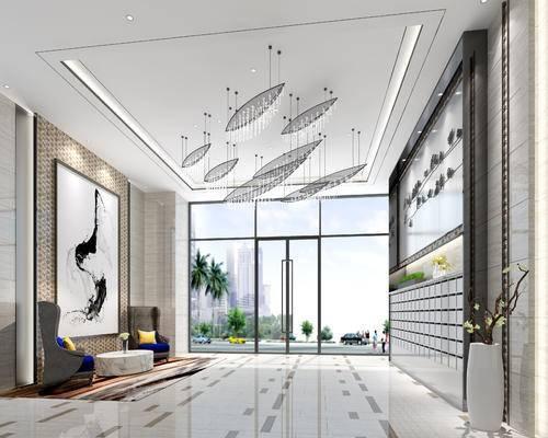 现代前台, 吊灯, 单人沙发, 壁画, 茶几, 现代