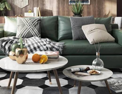 北欧沙发组合, 双人沙发, 茶几, 椅子, 壁画, 沙发凳, 北欧
