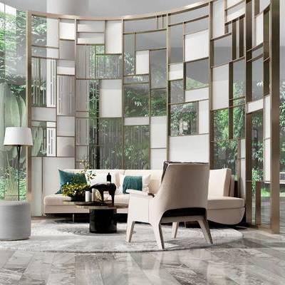 客厅, 多人沙发, 椅子, 落地灯, 沙发凳, 置物柜, 现代