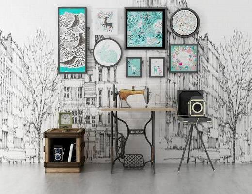 摆件组合, 缝纫机, 壁画, 边几, 工业风