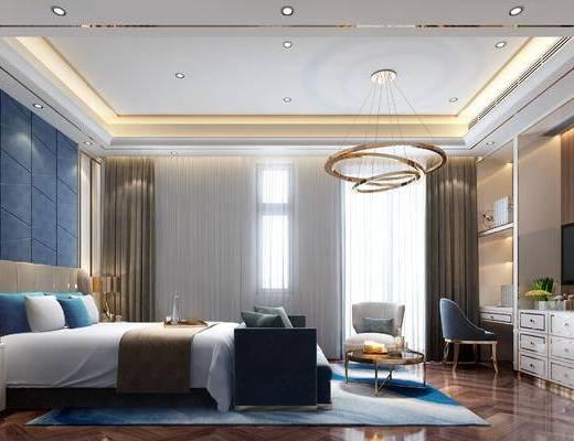 现代卧室, 吊灯, 双人床, 椅子, 边几, 置物柜, 多人沙发, 床头柜, 台灯, 现代