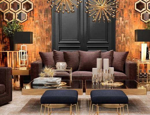 后现代布艺沙发组合, 茶几, 台灯, 储物架, 边几, 后现代