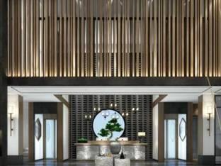 自然风民宿大厅前台3D模型