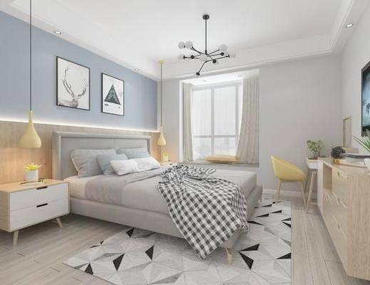 北欧卧室, 床, 吊灯, 壁画, 床头柜, 桌椅组合, 飘窗, 柜子, 盆栽, 地毯, 北欧