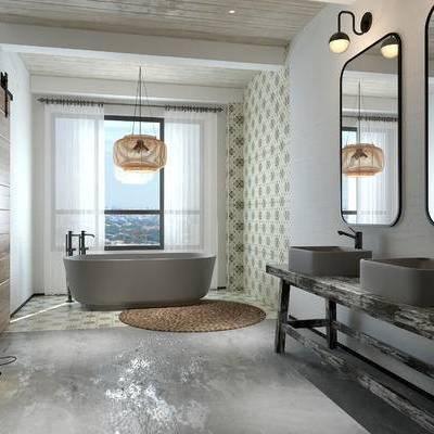 卫浴间, 洗手台, 浴缸, 吊灯, 镜子, 地毯, 中式