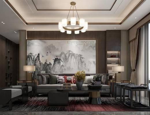 沙发组合, 背景墙, 吊灯, 茶几, 单椅