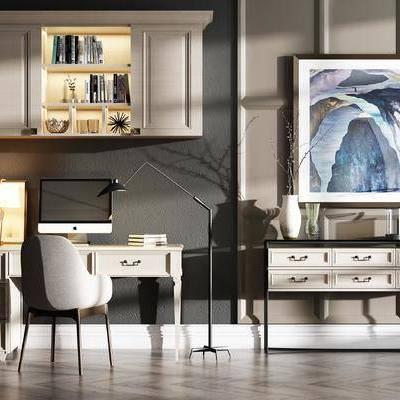 桌子, 椅子, 边柜, 壁画, 置物柜, 花瓶, 落地灯, 现代
