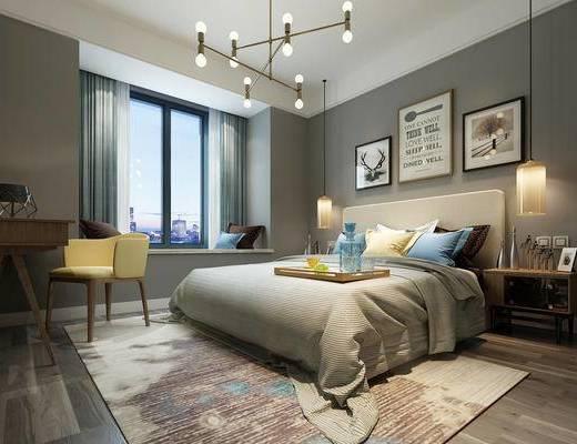 现代简约, 卧室, 吊灯, 床具组合, 桌椅组合, 装饰画