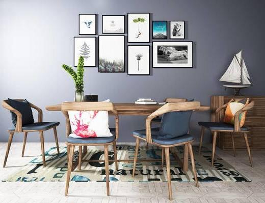 桌椅组合, 桌子, 椅子, 壁画, 北欧