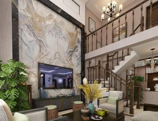 中式客厅, 客厅, 沙发组合, 中式沙发, 沙发茶几组合