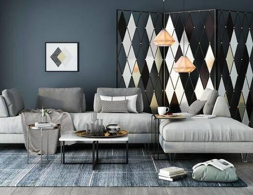 现代, 沙发, 茶几, 吊灯, 挂画, 装饰画, 边几, 摆件, 书籍, 书本, 屏风