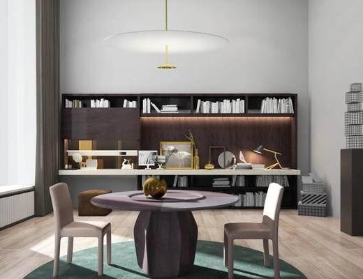 现代简约, 桌椅组合, 吊灯, 置物柜, 书籍, 现代