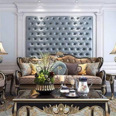 欧式, 皮质沙发, 沙发组合, 台灯, 茶具