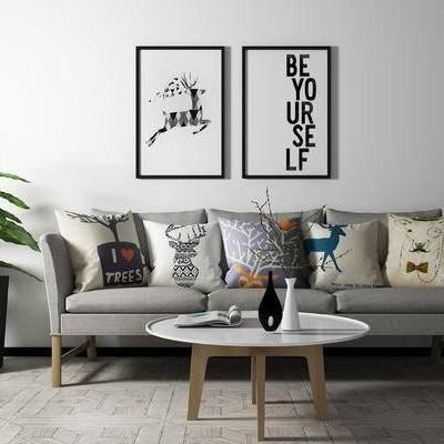 沙发组合, 多人沙发, 壁画, 茶几, 盆栽, 现代