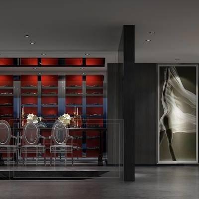 酒吧, 多人沙发, 边几, 椅子, 雕塑, 置物柜, 现代