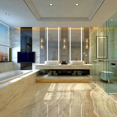 卫生间, 洗手台, 镜子, 浴缸, 马桶, 淋浴间, 壁灯, 现代